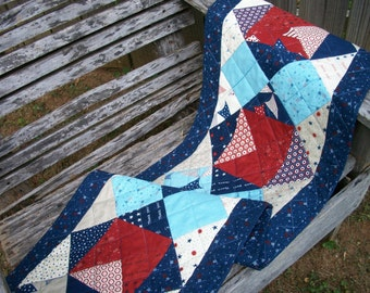 Patriotic Table Runner Red White Blue Stars Freedom Land of the Free Quilted Quiltsy Handmade Fireworks FREE U.S. Shipping Memorial Day