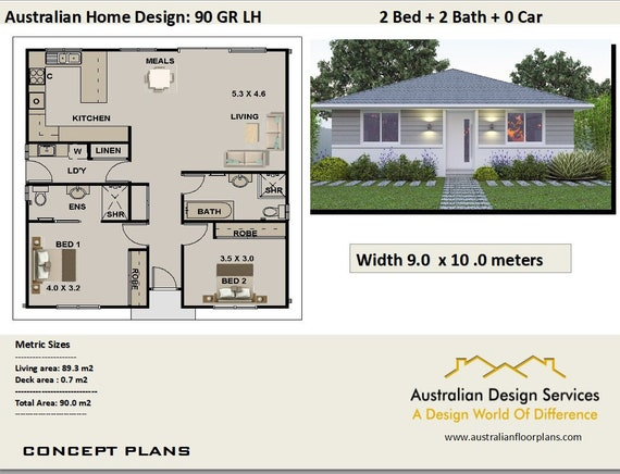 968 Sq Feet Or 90 M2 | 2 Bedroom | 2 Small Home Design | Small Home Design  | 2 Bedroom Granny Flat | Concept House Plans For Sale