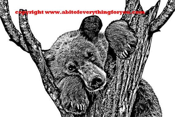 brown bear in tree original printable art print animal illustration black and white digital download graphics image living room wall art