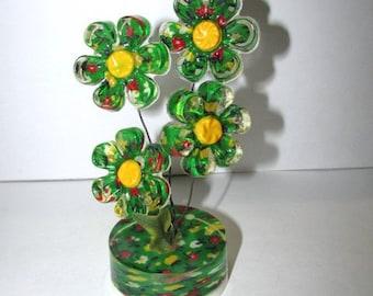 Vintage 70s Lucite Flower Arrangement, Mid Century Mod Acrylic Flower Power, Retro Home Decor