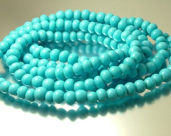 Vintage/ estate, African turquoise glass trade beads costume necklace - jewelry jewellery