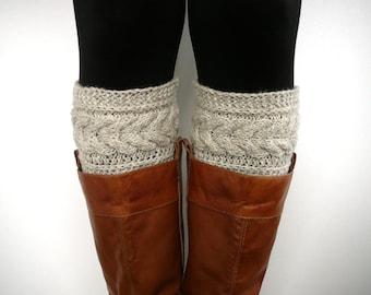 Oatmeal knit boot socks, boot cuffs, boot toppers, leg warmers