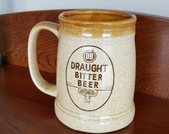New Zealand Vintage Collectable Beer Mug, Made in New Zealand, Draught Bitter Beer emblem and Rotaract club NZ Original from 1980.