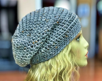 Gray with Gold Specks Slouchy Crochet Hat