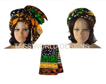 African Head scarf  , African Head wrap , Mud cloth Print , Head wrap , Print Head Wrap ,  Head scarf , HT24
