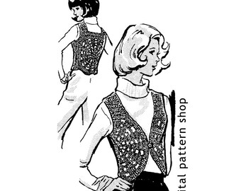 Crochet Vest Pattern- 1960s Vintage Medallion Vest Crochet Pattern PDF Instant Download Size 8 to 14 - C08