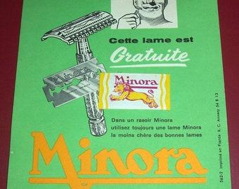 Vintage French Minora razor blade sample advertising card