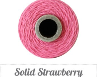 10 yards/ 9.144 m Solid Strawberry Pink Bakers Twine, Medium Pink Twine