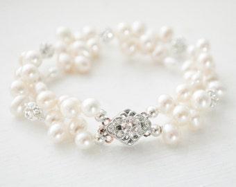 Bridal Bracelet, Freshwater Pearl Wedding Bracelet, Pearl Bridal Jewelry