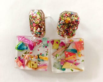 Handmade rainbow petals and confetti resin square earrings