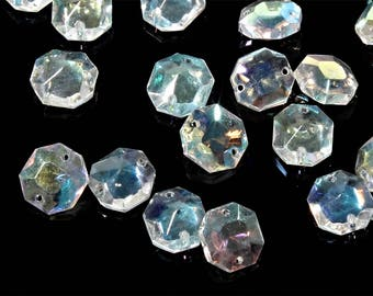 Lot (24) 15mm Vintage Czech octagon AB crystal Chandelier lamp connector bead prisms