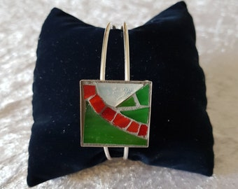 White orange green white mosaic Bangle Bracelet - reference 3