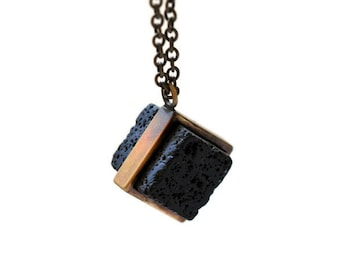Cool Volcanic-Square Lava B-Lava pendant for man-Grange Necklace-Long Brass Chain-geometric pendant for man-Apocalyptic-Grange Jewelry-MJ