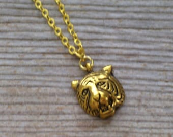 Tiger Pendant Necklace, Gold Plated Tiger Head Necklace, Big Cat Jewelry, Animal Jewelry