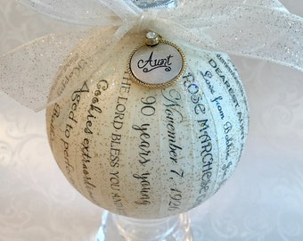 90th Birthday Gift ~ Personalized Ornaments for Men & Women ~ Milestone Birthdays ~ 40th 50th 60th 70th 80th 90th 100th Birthday Gift