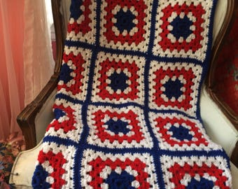 Red White and Blue  Afghan  Throa