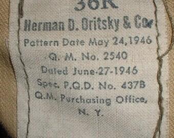 "US Army POST- WWII service coat M-1944 ""Ike"" jacket size 36 Regular; 1946 pattern"