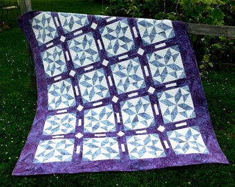 SALE, Buy 2/Get 1 Free -- TRIPLE PLAY, pdf quilt pattern, Throw, Queen & King sizes