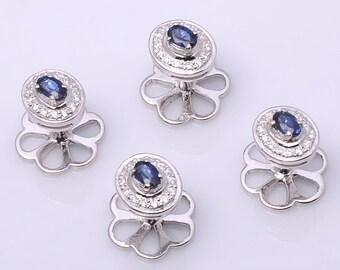 925 sterling silver Blue Sapphire & Diamond Tuxedo Buttons, studs