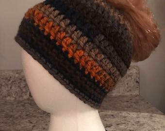 Crochet Messy Bun, Ponytail Hat, Orange/Brown/Navy