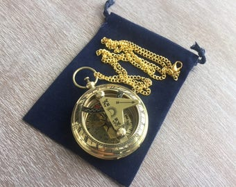 """Brass Sundial Compass w/ 27"""" Chain & Velour Bag - Necklace Pendant - Old Vintage Pocket Style - Nautical Gift"""