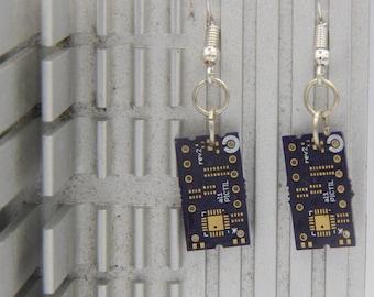 Purple circuit board Rectangle Medium earrings FREE SHIPPING in US