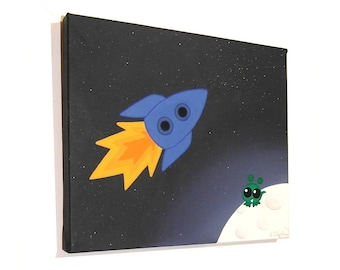 Rocket to the Moon original art - acrylic painting of a little green alien watching a blue spacecraft fly by, space themed nursery art
