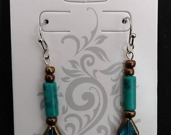 Beautiful brass and turquoise earrings