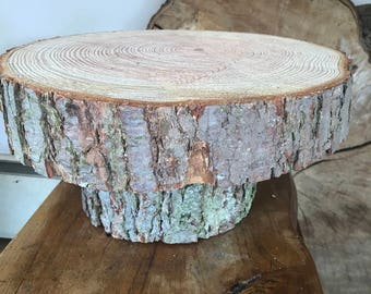 "Gorgeous 16"" Rustic raised wedding cake stand, centerpiece, log/display stand"