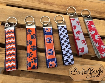 Alabama and Auburn Key Fob Wristlets - Roll Tide, War Eagle - You Choose
