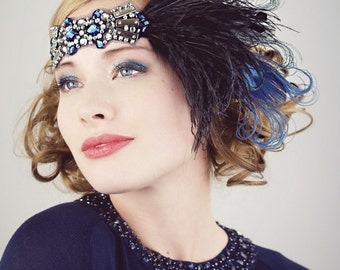 Deco Flapper Feather Headband Black Silver and Sapphire Blue