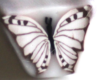 Cabbage White Butterfly Cane, Polymer Clay Flutterby Cane, Raw or Unbaked Clay