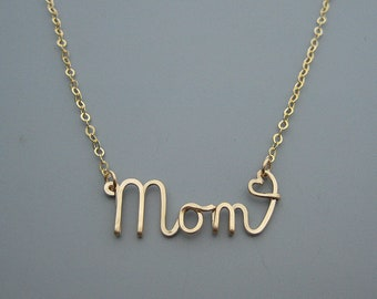 Gold Mom Necklace with Small Heart - cursive word choker with 14kt gold filled delicate chain, new mom or mothers day gift