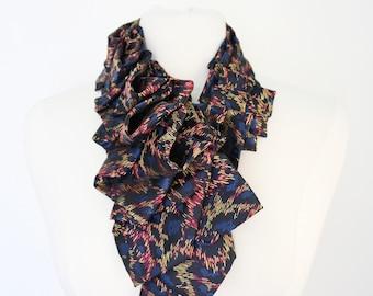 Lapel Necktie Ruffle Ascot - Animal Print Neon