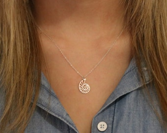 Nautilus Necklace -Sterling Silver Nautilus Necklace -Nautilus Pendant -Shell Necklace - Silver Shell  Spiral Shell Necklace Resort Jewelry
