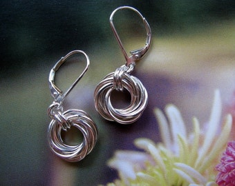 Small Round Sterling Silver Earrings, Mobius Flower Earrings, Handmade Jewelry, Love Knot Earrings