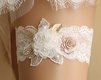 wedding garter, bridal garter, lace garter, white garter, crystal garter, toss garter, white lace garter, gold garter