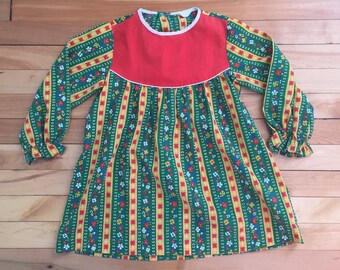Vintage 1970s Girls Red Green Floral Striped Calico Tunic Top Shirt! Size 5