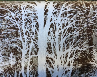 Vintage Brown Trees Home Deco Fabric, 2.8-Yard Piece