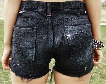 Galaxy Shorts High Waisted Denim Shorts Women's Clothing Space Cut Offs Jean Summer Coachella Tumblr Fashion Hipster Wear JS061