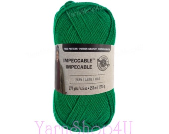 KELLY GREEN Impeccable Yarn. Medium Green Loops and Threads Large 4.5oz ball. Solid Green, 100% Acrylic for hats, afghans, sweaters, scarves