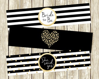 Black White and Gold Water Bottle Labels, Bridal Shower Water Bottle Labels, Black White and Gold Bridal Shower, Bridal Shower Decor, 003