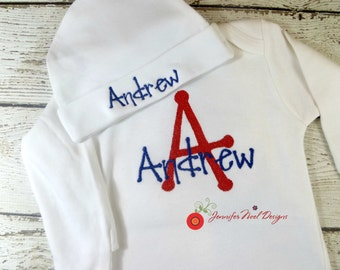 Personalized Boys Coming Home Outfit, Boys Take  Home From Hospital Outfit,  Layette Gown, or one piece and Hat Set, red and blue