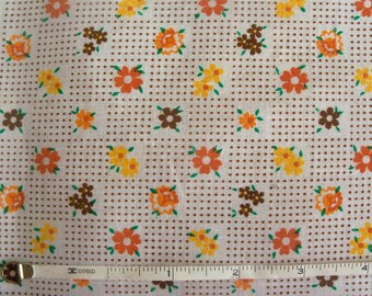 Vintage 40s Brown and Yellow Daisies & Dots Cotton Fabric
