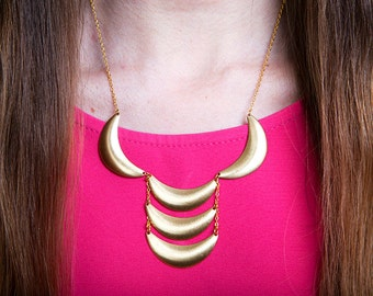Bib Statement Necklace, Brass Crescent Necklace, Scalloped Necklace, Ladder Necklace