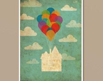 Pixar UP Vintage Minimalist Movie Poster Print