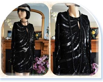 Vintage Silk Heavily beaded  1920's style Dress size Uk 10 US 6