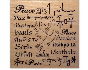 Language of Peace Mounted rubber stamp, world peace, peace in many foreign languages, Sweet Grass Stamps No.11