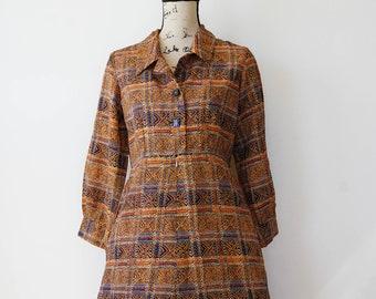 Vintage Plaid Dress Size M, Vintage Japanese Dress, 1980s Dress, Vintage Dress, Rockabilly Dress, Secretary Dress, Gingham Dress
