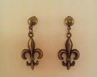 Silver or Bronze Fleur De Lis Post Earrings